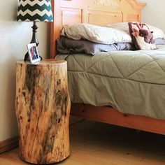 Downed beetle kill pine makes beautiful end tables. #overlookedcabinetry #woodworking #woodisgood #reclaimed #secondchances #cabinetry #cabinetmaker #colorado #idahosprings