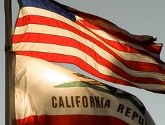 Flags of the United States and the State of California