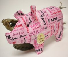 Pig Made To Order Pink Valentine Fabric Pig by PearcesCraftShop