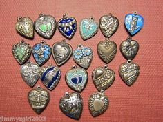 20 Vintage Sterling Silver Puffy Heart Charms | eBay