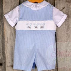 Light Blue Striped Bunny Face Jon Jon - Easter - Collections Smocked Auctions