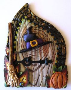 Fairy gardens miniature door decoration from Clay by Kim on Etsy