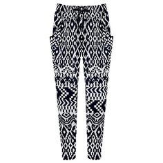 Black and White Printed Elastic Waist Casual Loose Thin Harem Pants... (110 MYR) ❤ liked on Polyvore featuring pants, plus size trousers, stretch waist pants, harem trousers, harem pants and thin yoga pants