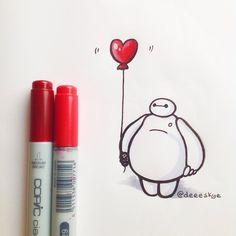 Love by DeeeSkye on DeviantArt Bmax Disney, Disney Fan Art, Cute Disney, Princess Disney, Disney Princesses, Disney Movies, Easy Disney Drawings, Cartoon Drawings, Easy Drawings