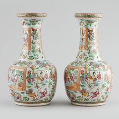 Par de vasos em porcelana Chinesa de Cantao do sec.19th, 36cm de altura, 3,190 USD / 2,830 EUROS / 11,130 REAIS / 20,650 CHINESE YUAN soulcariocantiques.tictail.com