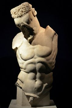 Torso of the Minotaur. Late 1st century CE Roman copy of a Greek original of around the mid-5th century BCE, hypothetically attributed to the sculptor Myron. (Palazzo Massimo alle Terme, Rome)