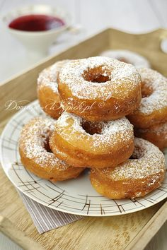 Donuts with cheese (in Polish) Donut Recipes, Dog Food Recipes, Cake Recipes, Dessert Recipes, Cooking Recipes, B Food, Slow Food, Donia, Sweets Cake