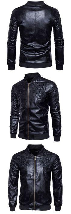 New Black Leather Jacket Men 2017 Winter Zipper Pocket Mens Leather Jacket  High Quality Casual Slim Fit Faux Fur Coats For Men 844bde98348a