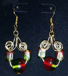Flattering, Stylish hand-crafted wire formed earrings - Red, green and yellow Czech glass beads- Artisan - Gold Plated by FireryangelCreations on Etsy
