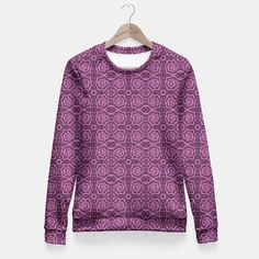 """""""Pink helices"""" pattern in pink & purple Fitted Waist Sweater, Live Heroes  #pink, #purple, #helices, #pattern, #dots, #abstract, #lace, #lines, #spirals, #curves,#handdrawn, #stylized,  #arabesque, #sweater, #fittedwaist"""