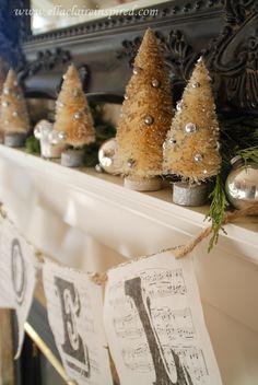 Christmas Home Tour~ Ella Claire vintage inspired Christmas Mantel Decor, handmade and DIY