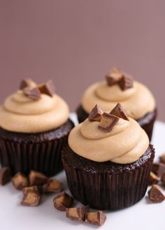 Chocolate and Peanut Butter Cupcakes - by Glorious Treats