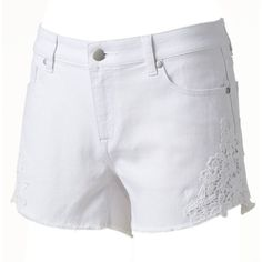 Women's LC Lauren Conrad Crochet Jean Shorts ($33) ❤ liked on Polyvore featuring shorts, white, floral shorts, crochet denim shorts, summer shorts, stretchy jean shorts and white floral shorts
