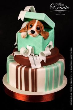 Puppy cake, wow this is amazing wish I had that skill Unique Cakes, Creative Cakes, Unique Birthday Cakes, Pretty Cakes, Cute Cakes, Fondant Cakes, Cupcake Cakes, Fondant Bow, Fondant Tutorial