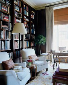 Office - Library - Timothy Whealon Interiors - London Townhouse - floor lamp use, chairs, proportions of shelves
