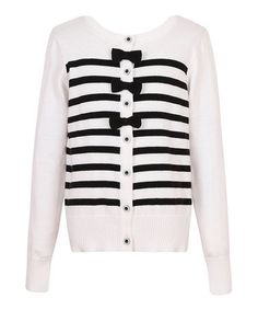 Another great find on #zulily! Black & White Bow Button-Up Cardigan - Toddler & Girls #zulilyfinds