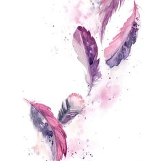 Purple Feathers Painting, ORIGINAL Watercolor Painting, Painting of... ($120) ❤ liked on Polyvore featuring home, home decor, wall art, art, water color painting, feather painting, pink flamingo wall art, water colour painting and purple paintings
