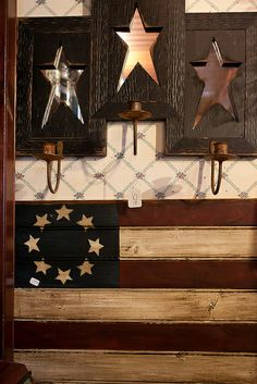 Prim wooden flag and star candle holders | Country Road Flowers by golancasterpa, via Flickr