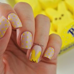 Instagram media by nails_by_cindy - April Nail Art Challenge- Peeps I loooove this design so much I did it on both hands! Perfect mani for Spring.  I used essie's 'topless and barefoot' as my base and everything else is hand painted with acrylic paint.