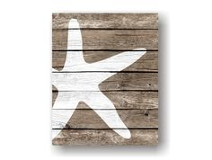 Starfish Art Print - Rustic Nautical Wall decor, Faux Wood, Sea Life art, Beach Wall Art Decor, Nautical Bathroom, Coastal Living Decor