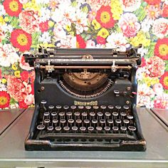 Classic black underwood no 5 typewriter glass by FlickerAndSway
