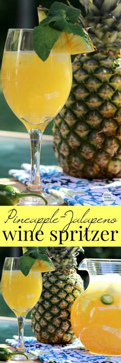 Pineapple-Jalapeno Wine Spritzer | by Renee's Kitchen Adventures is an easy recipe for an adult beverage cocktail made with wine, pineapple juice and jalapeno infused simple syrup. #RKArecipes #pineapple #beverage