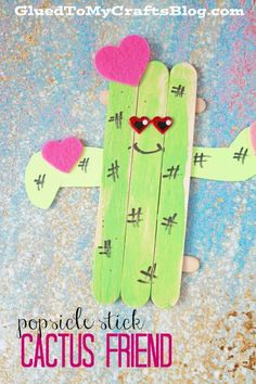 Popsicle Stick Cactus Friend - Kid Craft Idea
