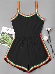 Rainbow Trim Drawstring Cami Romper Rainbow Trim Drawstring Cami Romper BLACK: Jumpsuits & Rompers S Cute Lazy Outfits, Trendy Outfits, Cool Outfits, Summer Outfits, Night Outfits, Teen Fashion Outfits, Girls Fashion Clothes, Trendy Fashion, Womens Fashion
