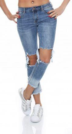 SKUTARI Damen Baggy Jeans Destroyed XL zerrissen Boyfriend