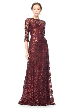 Tadashi Shoji's Paillete Embroidered Lace Gown is perfect for the Mother of the Bride to shine. This beautiful Marsala color is great for Autumn!