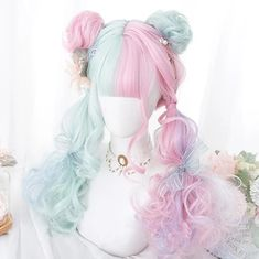 We Found Cheap Pastel Mint and Pink Mixed Color Cosplay Wig with a huge discount. Shop for Best Aliexpress Finds Aesthetic Clothing and Accessories Pelo Lolita, Lolita Hair, Lolita Dress, Kawaii Hairstyles, Pretty Hairstyles, Wig Hairstyles, Wedding Hairstyles, Hairstyle Men, Casual Hairstyles