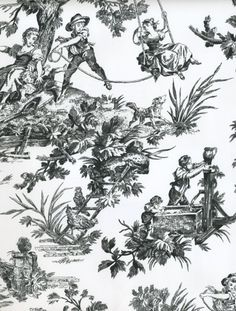 Black and White Country Life Toile Wallpaper