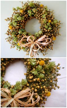 Natural wreath with hops and flax