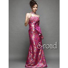30%OFF 送料無料 ローズ模様のゴブランにゴージャスなラインストーンのエレガントピンクマーメイドライン ウエディングドレス