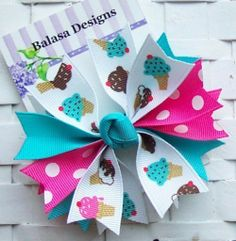 Boutique Ice Cream Cones Spike Hair Bow by Balasadesigns on Etsy, $3.75