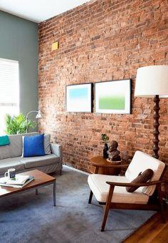 Usually the living room interior of the exposed brick wall is rustic, elegant, and casual. Exposed brick wall will affect the overall look of your house more appreciably. Brick Accent Walls, Red Brick Walls, Exposed Brick Walls, Blue Walls, Exposed Brick Apartment, Grey Brick, Brick Interior, Interior Walls, Home Interior Design
