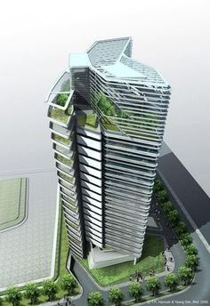 Article source: T. Hamzah & Yeang Sdn Bhd Spire Edge office tower stands as an iconic landmark on a new IT park located in Manesar, Gurgaon, India. The tower is a 21 storey building accommodating offices, auditorium, gallery and other . Green Architecture, Futuristic Architecture, Amazing Architecture, Architecture Design, Hotel Architecture, Tower Building, Building Facade, Building Design, Amazing Buildings