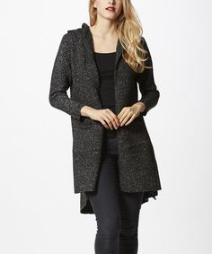 Look at this Simply Couture Black Hooded Open Cardigan on #zulily today!
