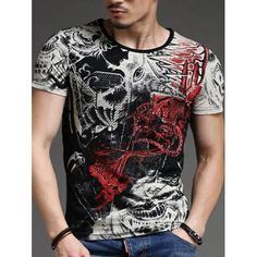 12.61$  Buy now - http://difgc.justgood.pw/go.php?t=188288111 - Men's Round Neck Abstract Printing Short Sleeves T-Shirt