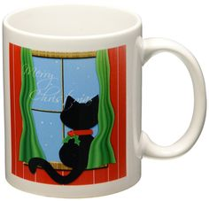 3dRose mug_155257_1 Merry Christmas Cute Black Cat in Snowy Window Ceramic Mug, 11-Ounce -- Quickly view this special cat product, click the image : Cat mug