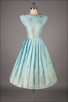 Paisley Printed Cotton Dress, ca. 1950s