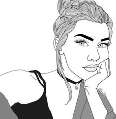 Find images and videos about girl, beautiful and art on We Heart It - the app to get lost in what you love. Tumblr Girl Drawing, Girl Drawing Sketches, Tumblr Drawings, Girl Sketch, Outline Drawings, Pencil Art Drawings, Cute Drawings, Black And White Cartoon, Black And White Drawing