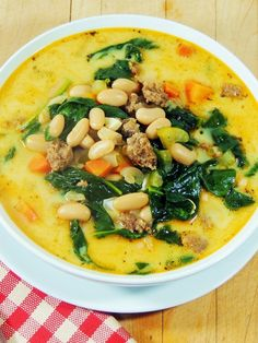 Bobbi's Kozy Kitchen: Spicy Sausage, White Bean, and Spinach Soup #SundaySupper