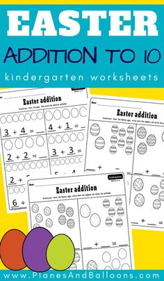 Easter addition to 10 worksheets - Planes & Balloons Easter Worksheets, Kindergarten Addition Worksheets, Numbers Kindergarten, Subtraction Kindergarten, Printable Worksheets, Free Printables, Kindergarten Learning, Fun Learning, Early Learning