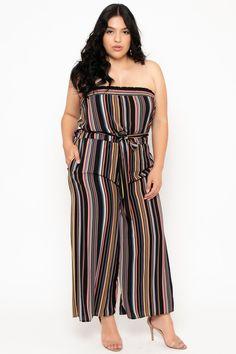 b2ea7f79a43 Plus Size Koshion Stripe Tube Jumpsuit - Black