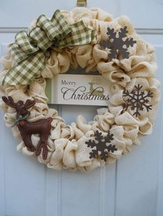 Country Christmas Cream Burlap Wreath