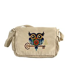 Take a look at this Tan Owl & Skeleton Key Messenger Bag on zulily today!