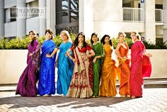 Bridesmaids Inspiration: Cultural colorful mix and matched bridesmaid dresses #bridesmaids #rainbow