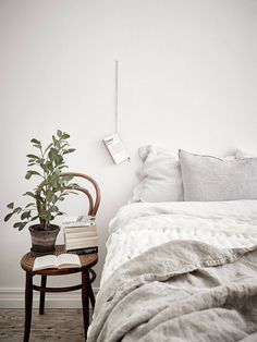 Sweet simplicity.  Could there be an easier nightstand alternative?  Love.