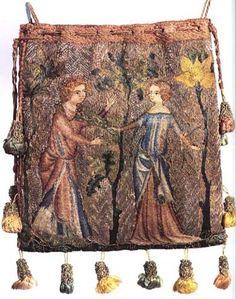Aumoniere from Paris, 1340, embroidered